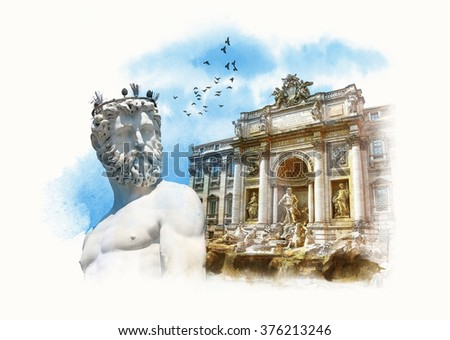 Sightseeing Italy. Statue of Neptune, Florence, Trevi Fountain (Fontana di Trevi) in Rome. Italy. Watercolor sketch, Drawing on old paper. - stock photo