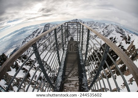 Sightseeing point over the Mountain. Fisheye lens view. - stock photo