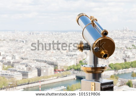 Sightseeing Telescope at the Eiffel Tower (Paris, France) - stock photo