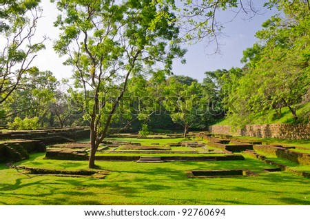 Sigiriya ( Lion's rock ) is a large stone and ancient palace ruin in the central  Sri Lanka - stock photo