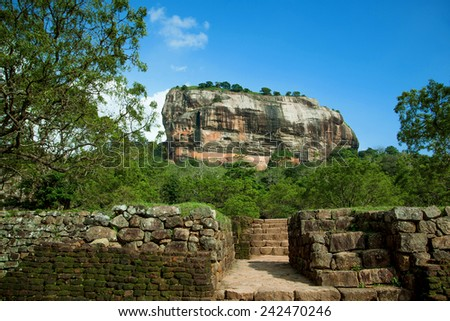 Sigiriya Rock Fortress, Lion Rock, Sri Lanka  - stock photo