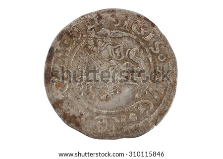 Sigismund old poltorak silver coins isolated on white background - stock photo