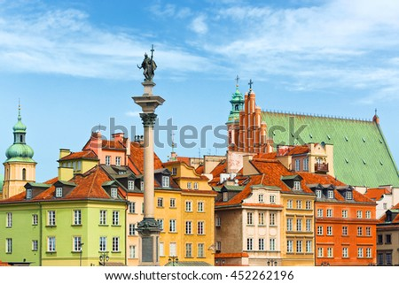 Sigismund's Column and roof tops, Warsaw city Poland - stock photo
