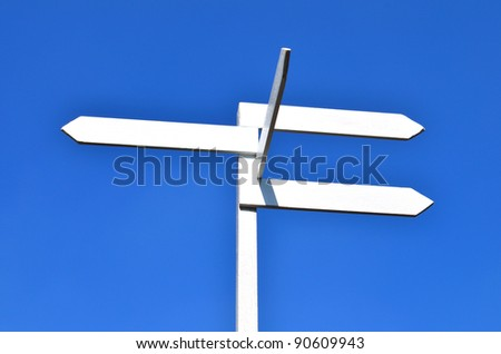 sign and blue sky - stock photo