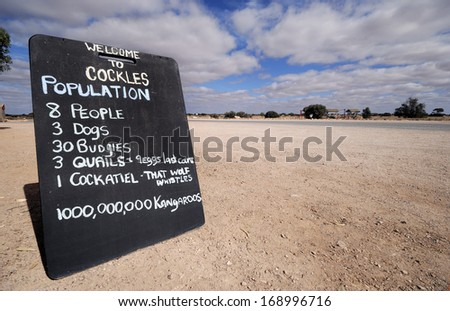 Sign at the entrance of a ghost town in Australia - stock photo