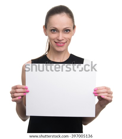 Sign board. Business woman holding white blank card. Isolated - stock photo