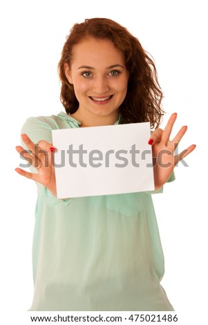 Sign board. Woman holding big white blank card. Positive emotional portrait of happy girl with long hair.