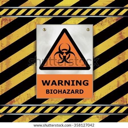 Sign caution blackboard warning biohazard raster - stock photo
