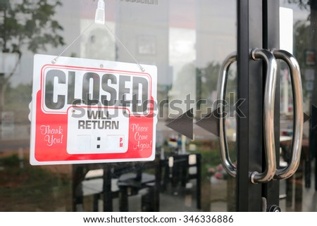 Sign closed in restaurant  blank for fill time. - stock photo