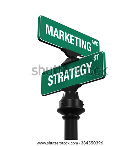 Sign Direction of Marketing and Strategy - stock photo