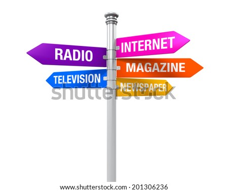 Sign Directions of Media Information - stock photo