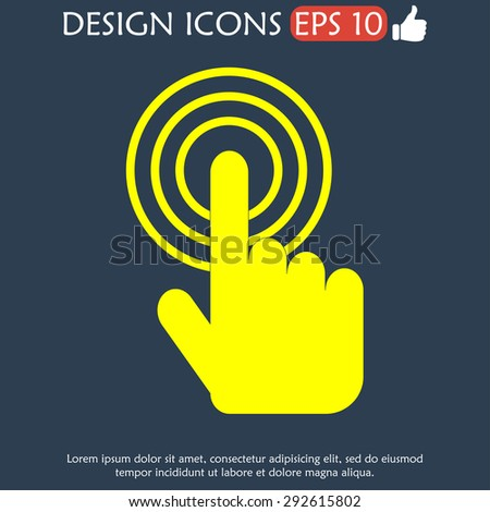 Sign emblem illustration. Hand with touching a button or pointing finger - stock photo