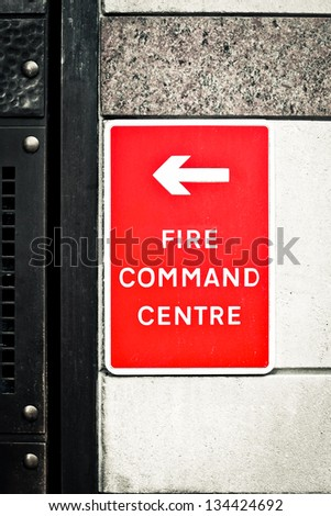 Sign for a fire command centre on a wall