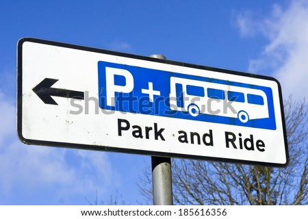 Sign for a park and ride site in a UK town - stock photo