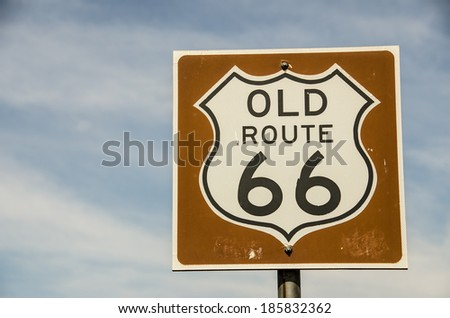 Sign for old, historic, Route 66 in Vega, Texas - stock photo