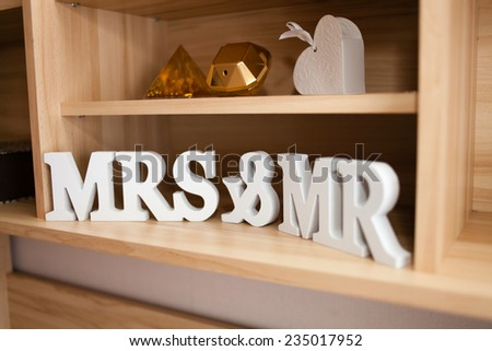 "Sign for wedding ""MRS"" & ""MR"" - stock photo"