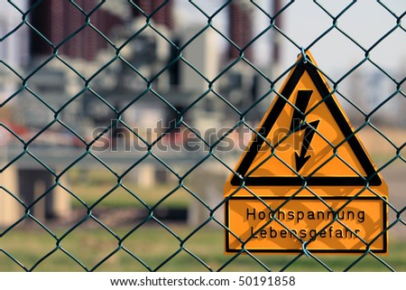 sign high voltage - stock photo