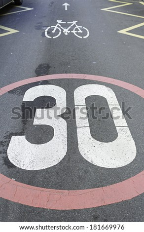 Sign in road speed limit, transport - stock photo