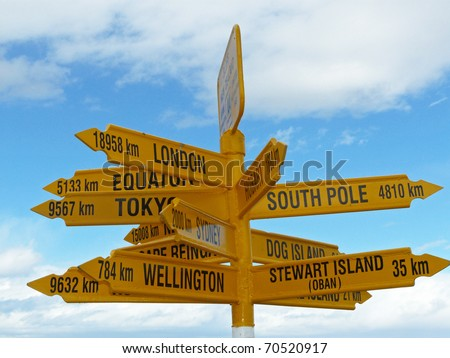 Sign in Stirling point, New Zealand - stock photo