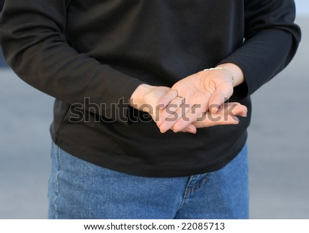 Sign Language for Thank You or Good - stock photo