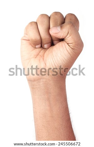 Sign Language. Hand Showing Sign of S Alphabet. - stock photo