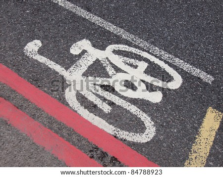Sign of a bike or bicycle lane - stock photo