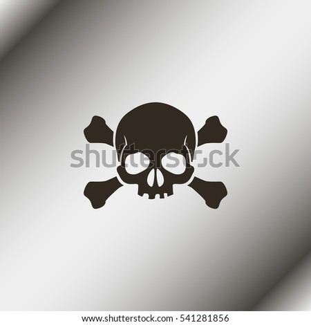 Sign of danger to life. Skull and crossbones.