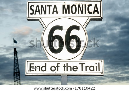 Sign of end of the famous route 66 in Santa Monica, California