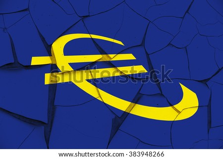 Sign of Euro currency on a cracked paint wall. A symbol of uncertainty in the Eurozone after anti-EU groups gain widespread throughout Europe, reflect widespread disapproval of austerity policy. - stock photo