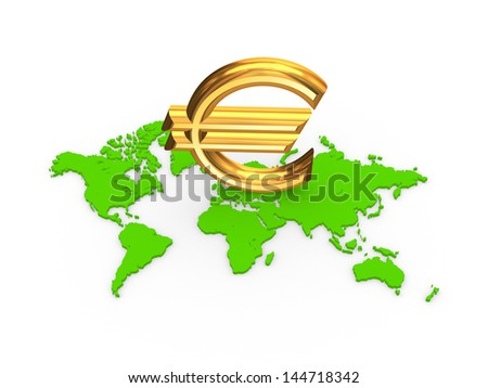 Sign of euro on a map.Isolated on white.3d rendered. - stock photo
