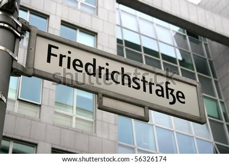 Sign of famous street Friedrichstrasse in Berlin, Germany - stock photo