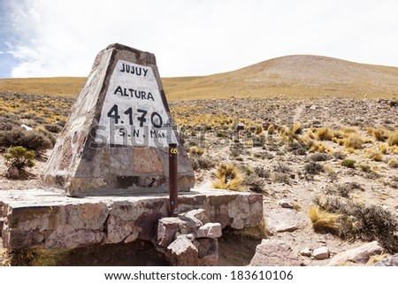 Sign of Jujuy in North Argentina