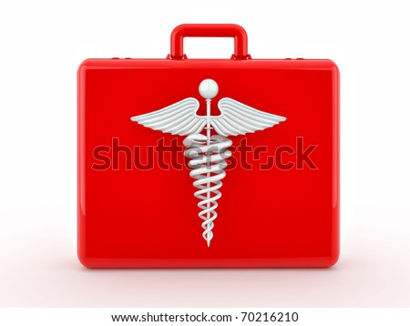 Sign of medicine on medical suitcase. 3d - stock photo