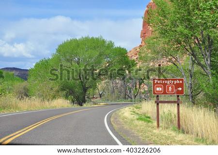 Sign of Petroglyphs, Capitol Reef National Park, Utah, USA - stock photo