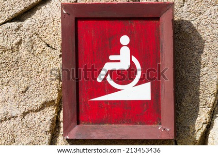 sign of ramp for wheelchair - stock photo