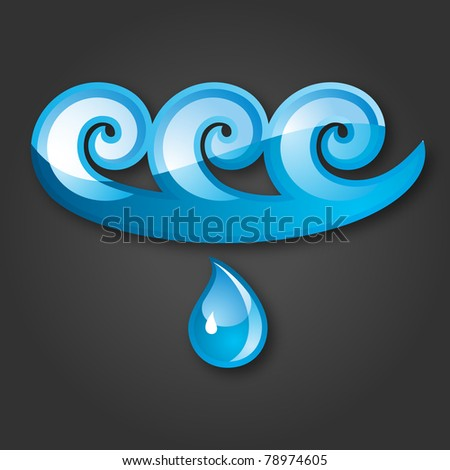 Sign of Water Blue-gray background. Bitmap copy ID 76977115. - stock photo