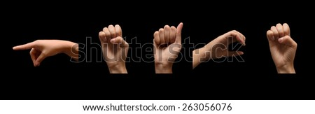 sign of word peace in sign alphabet isolated on black background - stock photo