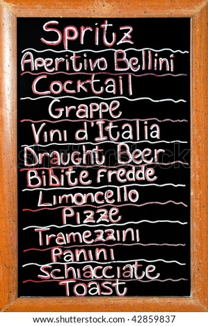 Sign offering all kind of drinks starting with the famous spritz in Venice, Italy - stock photo