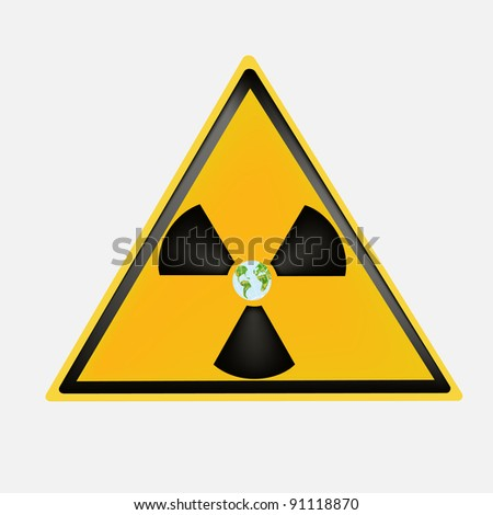 Sign on global radiating danger on a white background