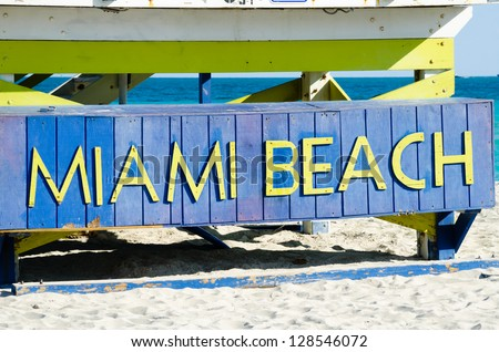 Sign on the beach in Miami, state Florida USA - stock photo