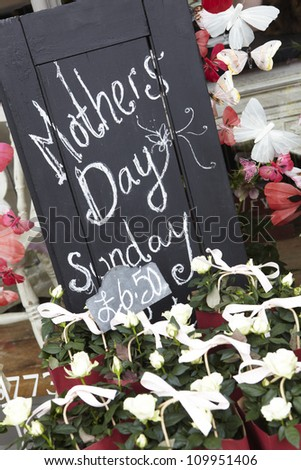 Sign Outside Florists Advertising Mother's Day - stock photo