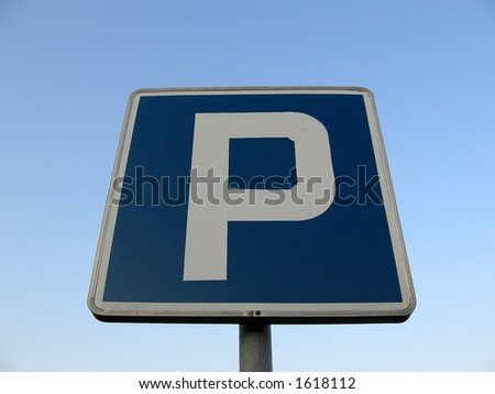 "sign ""p"" on the sky;  parking; park; post; - stock photo"
