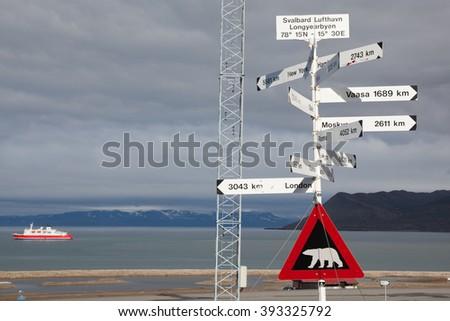 Sign polar bear. Pointer Svalbard. Norway. - stock photo
