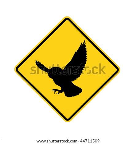 sign - predator owl ahead - stock photo