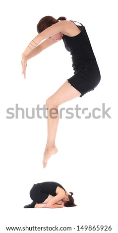 Sign QUESTION MARK  formed by human body - stock photo