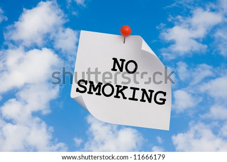 sign restricting to pollute environment pinned up to the sky - stock photo