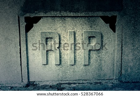 Sign rip in a tomb, detail of a signal in the cemetery, rest in peace