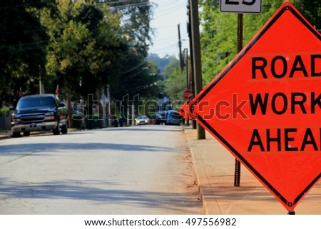 Sign road work ahead