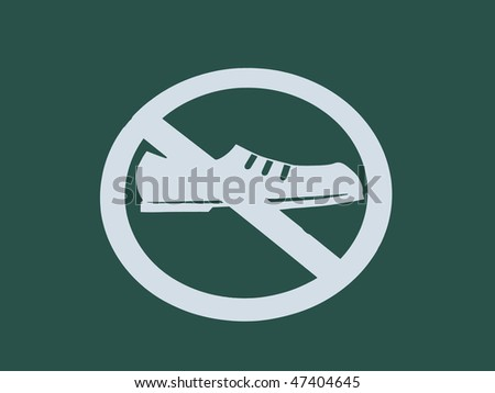 sign saying No Shoes - stock photo