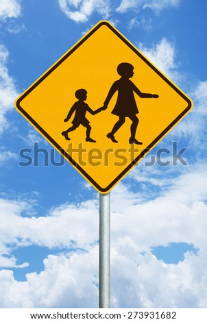 Sign showing children crossing - stock photo